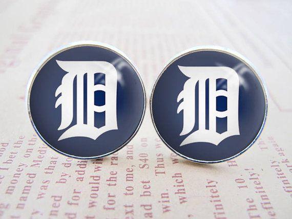 Detroit Tigers baseball logo cufflinks custom wedding by taodory