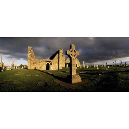 Clonmacnoise Monastery Co Offaly Ireland Cross Of The Scriptures High Cross Canvas Art - The Irish Image Collection Design Pics (44 x 18)