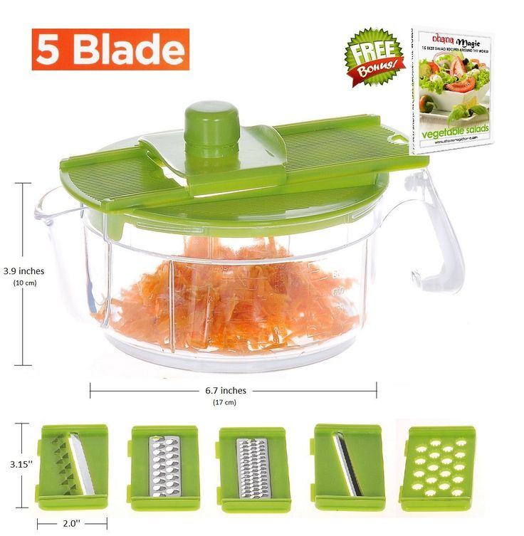 Ohana Magic Cheese Vegetable Grater Slicer Mandoline Set with Storage Container, Potato Chip Cutter, FREE Recipe e-Book * For more information, visit image link.