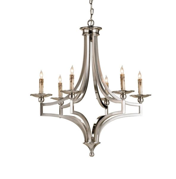 Currey And Company 9674 Nocturne 6 Light Chandelier In Nickel
