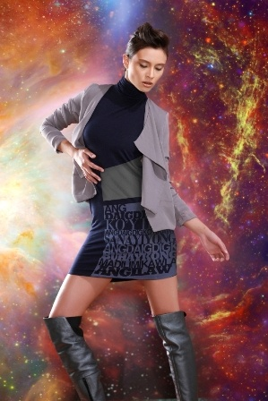 Mandarin Collared Shift Dress with Levi Celerio 'Ang Daigdig Ko'y Ikaw' lyrics matched with waterfall jacket.
