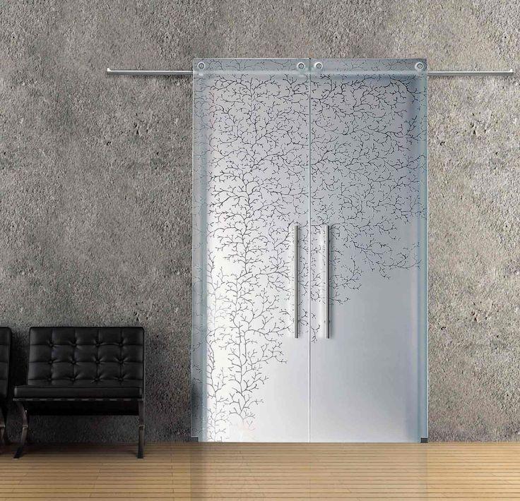 Hung printed Glass Sliding Doors