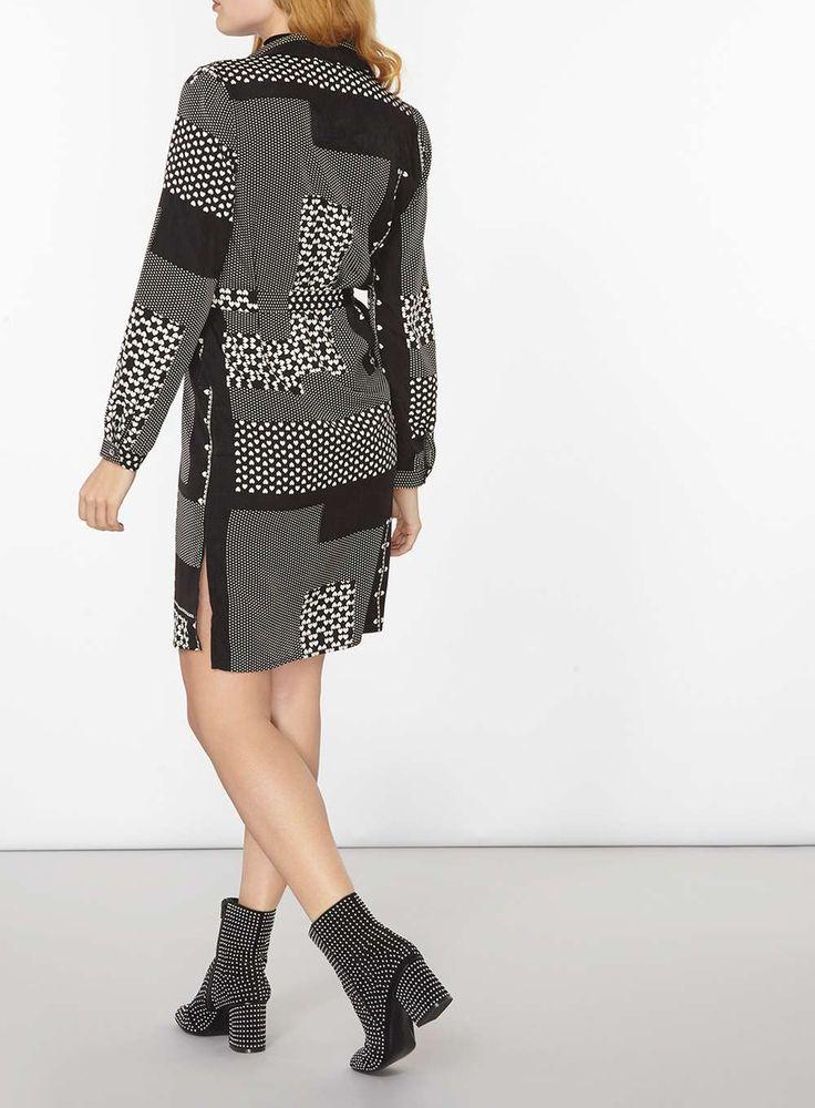 Womens Black And White Heart Patchwork Shirt Dress- Black