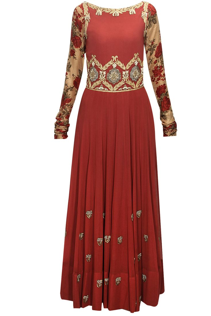 Brick red floral embroidered anarkali set available only at Pernia's Pop-Up Shop.