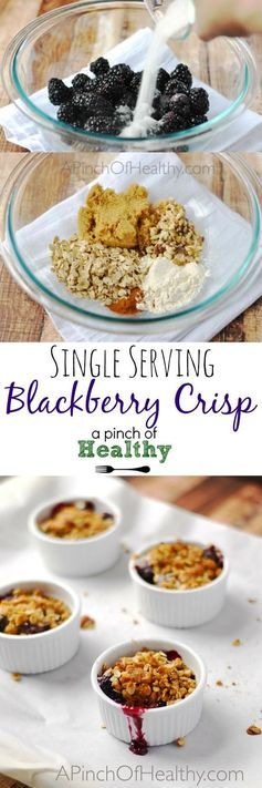 This single serving blackberry crisp is so tasty, warm and comforting. And you'll be surprised at how easy it is to make! Perfect Thanksgiving dessert recipe! | APinchOfHealthy.com
