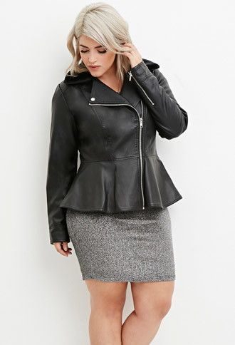 Plus Size Faux Leather Moto Jacket   Forever 21 PLUS - 2000174762 size 1X maybe XL because forevers plus sizes are werid