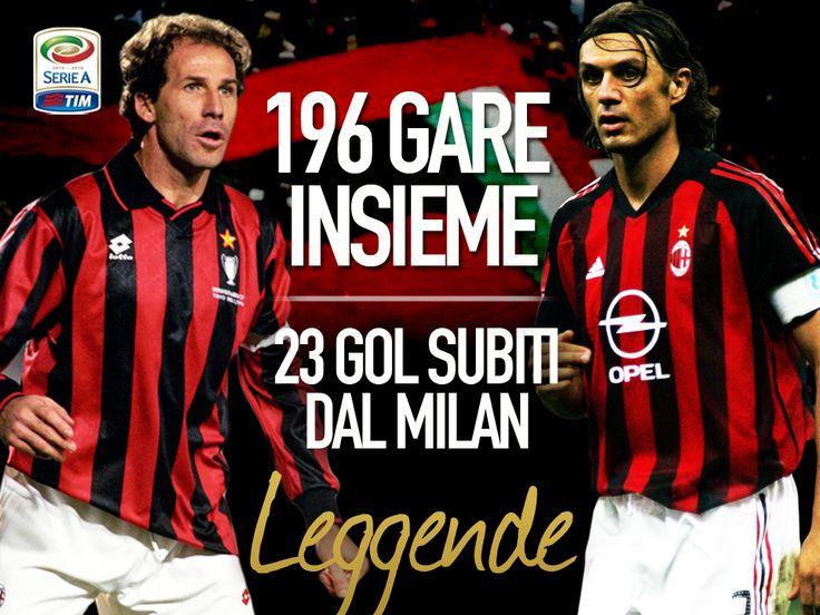 196 gare giocate insieme, 23 gol subiti dall'A.C. Milan in queste partite: Franco Baresi e Paolo Maldini, leggende rossonere