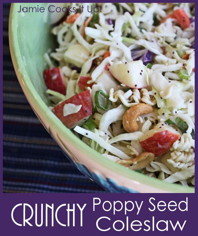 Crunchy Poppy Seed Coleslaw from Jamie cooks It Up!