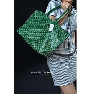green goyard tote bag