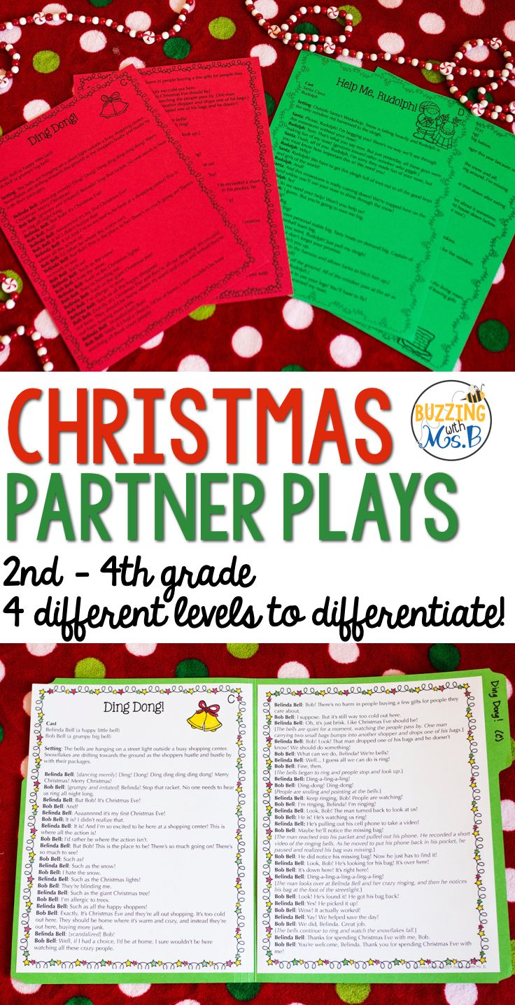 This set of Christmas partner plays includes four different reader's theaters for students in grades 2 - 4. These plays include a two-person cast, stage directions, and dialogue. They are perfect for partner work, daily fluency practice, a presentation for other classes, or to put in a reading station or center, such as Buddy Reading or Read to Someone.