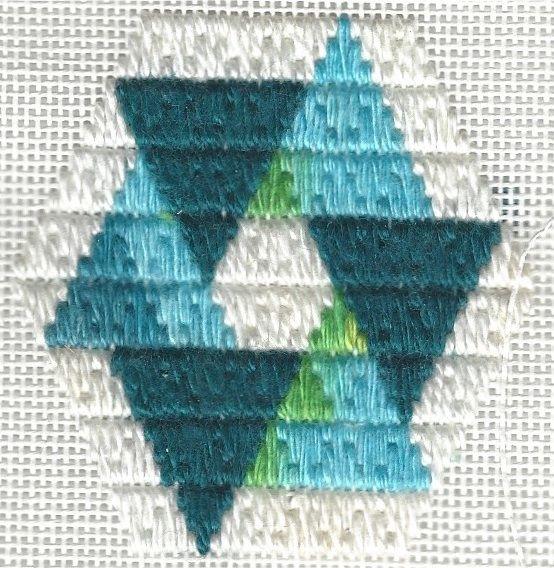 Teal & aqua Ring of Triangles needlepoint ornament, copyright Napa Needlepoint