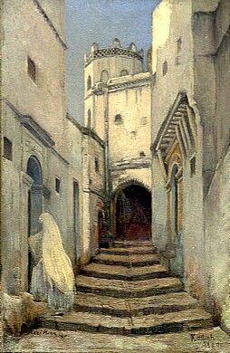 Peinture d'Algérie - Peintre Français, René Hanin (1871-1943), Huile sur panneau 1907, Titre : Casbah d'Alger.
