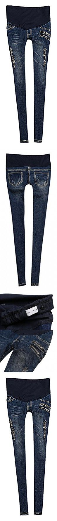 US&R, Women's Dark Distressed Zip Detail Secret Fit Belly Maternity Skinny Jeans, Blue 10 ,Manufacturer(XXL)