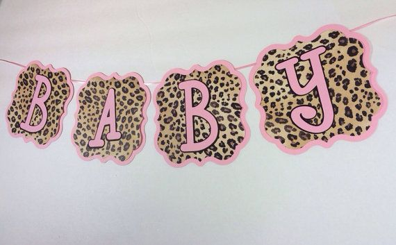 Pink and Cheetah Print Baby Shower Banner by SuttonandCo on Etsy, $15.00
