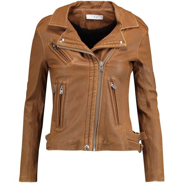 IRO  Leather biker jacket ($440) ❤ liked on Polyvore featuring outerwear, jackets, leather motorcycle jacket, brown leather jackets, zipper jacket, leather jackets and brown jacket