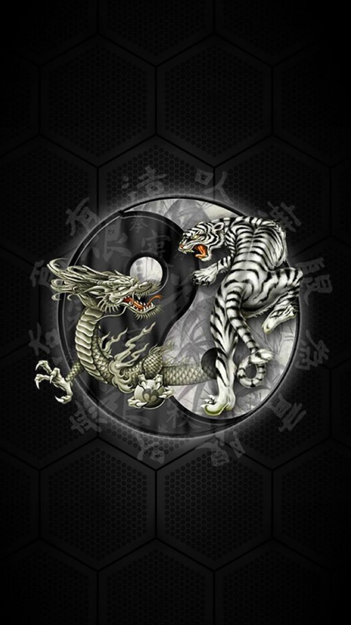Chinese Yin Yang Tiger Dragon Windows Phone Wallpaper Smartphone Pinterest Itrtg Dragon Tiger Tattoo Tiger Dragon Yin Yang Tattoos