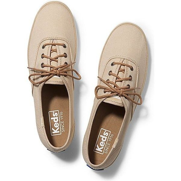 Keds CHAMPION WAXED LACE (59 CAD) ❤ liked on Polyvore featuring shoes, sneakers, tan, keds sneakers, tan lace up shoes, breathable sneakers, lacy shoes and laced sneakers