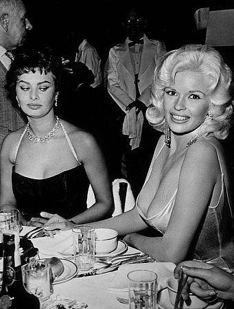 Jayne Mansfield and Sophia Loren at Romanoff's, Beverly Hills, circa 1958. Modern silver gelatin    http://menmyiphone.blogspot.com/