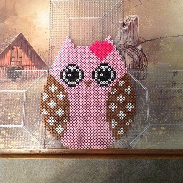 Pink owl perler beads by theperlerbeadmakers