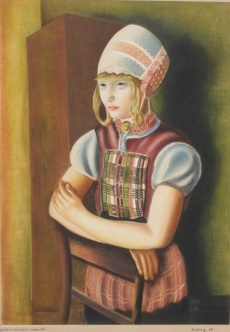 Mojżesz KISLING,Portret młodej kobiety, około 1920 , litografia, karton, 64 x 46,5 cm w świetle passe-partout