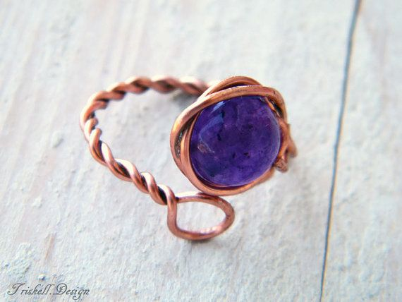Copper wire wrapped ring with amethyst bead by TriskellDesign