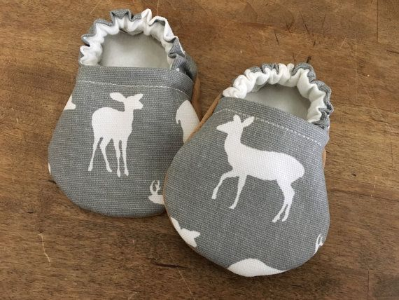 Woodland shoes Deer baby shoes Handmade baby shoes Baby