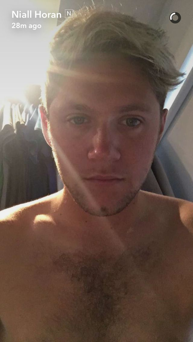 Niall Horan, all bare chested with nice hair to play with and love those whiskers.  Niall I love you Honey.
