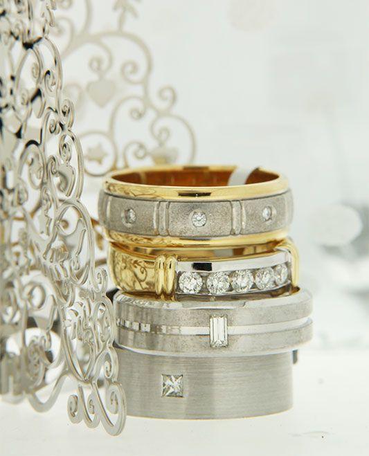 What a stunning stack of men's diamond rings!  #weddingrings #mensrings #diamonds #love #marryme #diamondsinternational #christmasbling #bling #sparkle