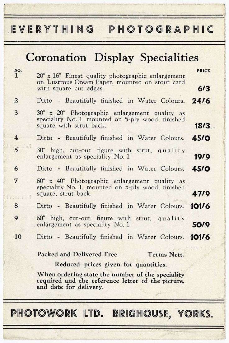 A price list produced by A.H Leach for photographs of the Coronation of King Edward VIII prior to his abdication from the throne.
