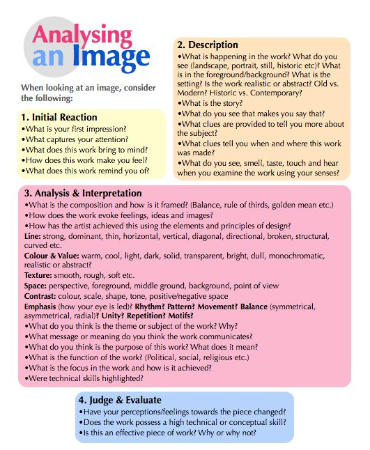 CurkovicArtUnits / Analysing an Image Great reference for questioning students about artwork.