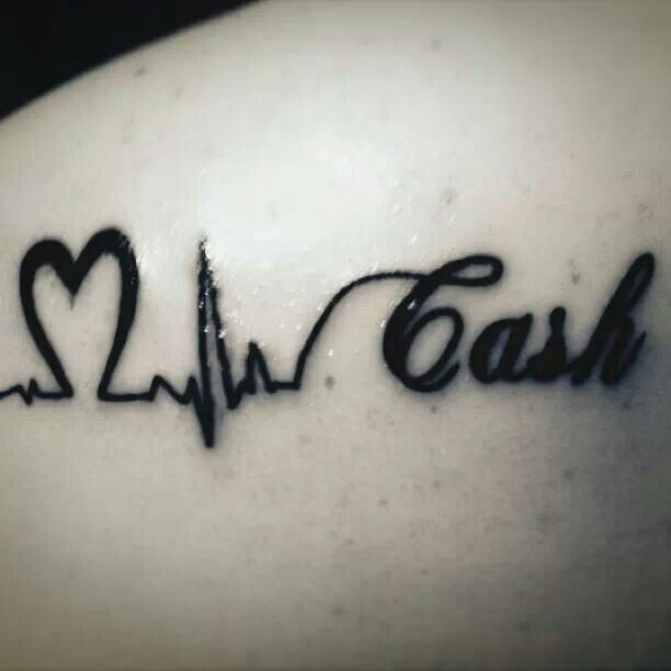 Tattoo my daughter just got for her son ( Cash) she said because he is her life, her heartbeat, her everything...Thought it was so sweet and original! Love it!!