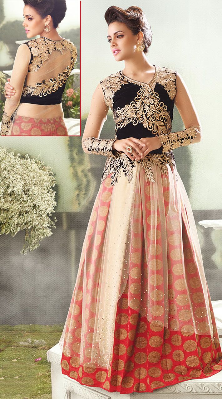 Add an alluring look to your personality. The designer salwar kameez in black and reddish pink color is crafted on velvet and net material and is decorated with resham, embroidery and stone work. This suit comes with matching bottom and contrast dupatta. Two options pick one and get one. This Salwar Kameez can be stitched in the maximum bust size of 42 inches.