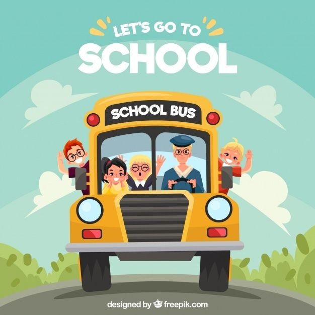 Free Cartoon School Bus And Children With Flat Design Svg Dxf Eps