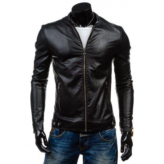 Čierna pánska kožená bunda - fashionday.eu
