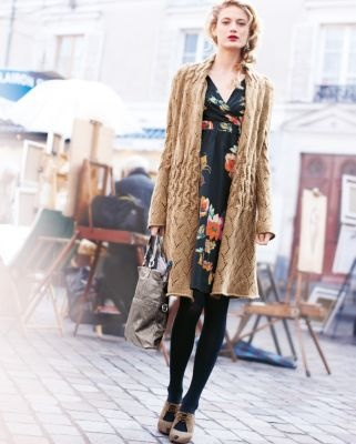 Cute Sweater Coat.  Would look great with jeans or as shown with dress.Pointelism Sweaters, Outfit Ideas, Style, Garnet Hills, Sweaters Coats, Voile Dresses, The Dresses, Pointelle Sweaters, Floral Dresses