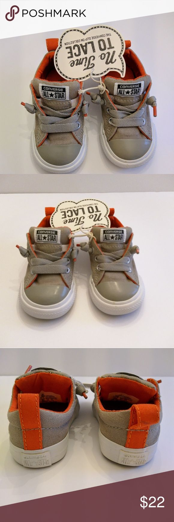 Light Brown Converse All Stars ⭐ No Tie shoe Brand New Converse Boys Size 5 Slip-on No Time to Lace Tennis Shoes. Light brown in color. Inside is orange. Converse Shoes Sneakers