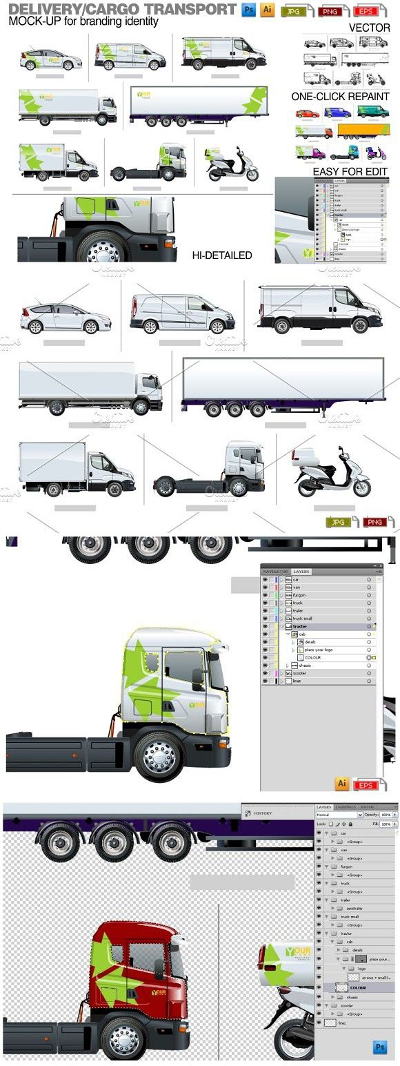 Delivery / cargo transport mockup. Product Mockups