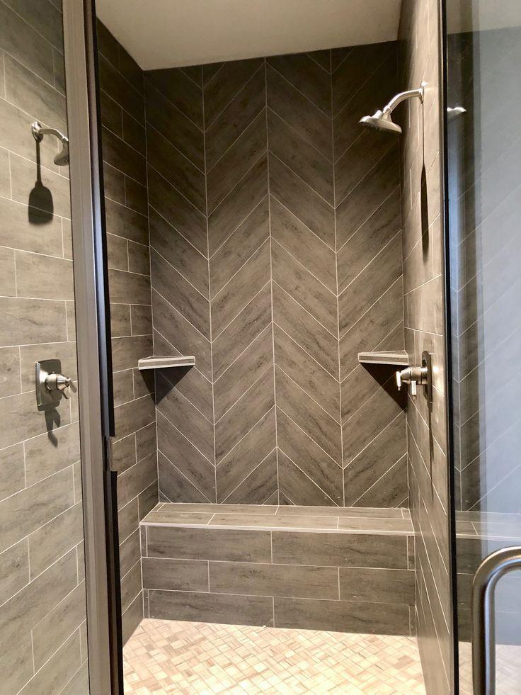 Gray herringbone tiled shower 2019 Shower Diy Double