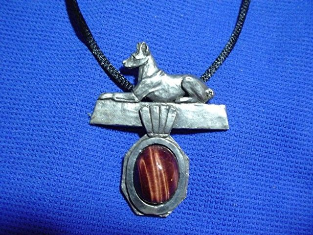 Basenji on Tiger Eye necklace #40Q2 Pewter Sighthound dog jewelry Hound #40Q1