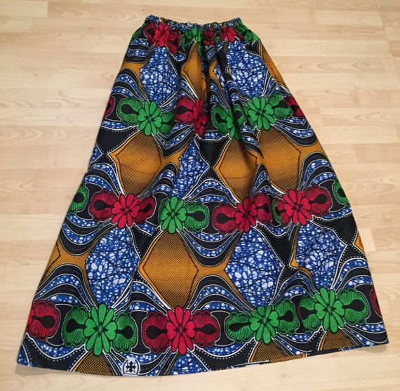 Flower Bow African Print Maxi Skirt - Large