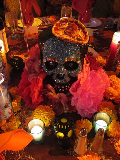 Over the top Martha Stewart Halloween party/masquerade -- Day of the Dead theme