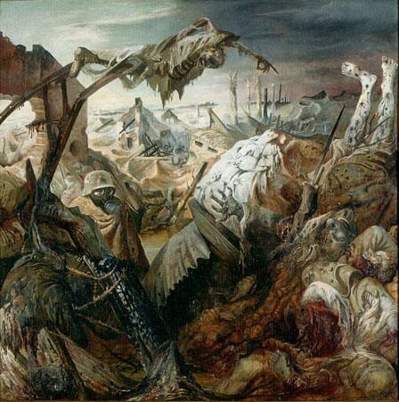 オットー・ディックス『戦争』三連祭壇画中央図(1929-1932) Otto Dix - Triptychon Der Krieg, Mitte  #新即物主義