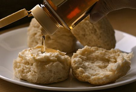 Biscuit with butter and honey