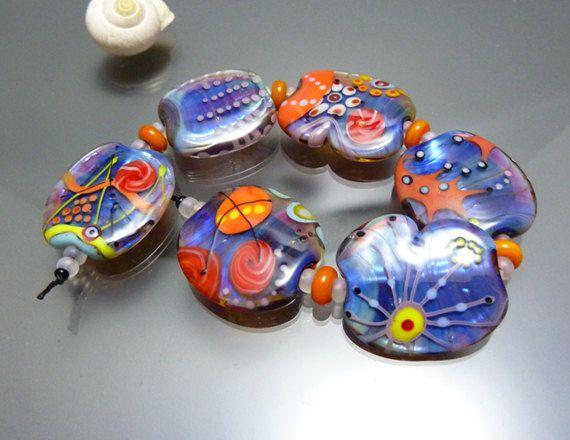 handmade lampwork set six silver glass beads by