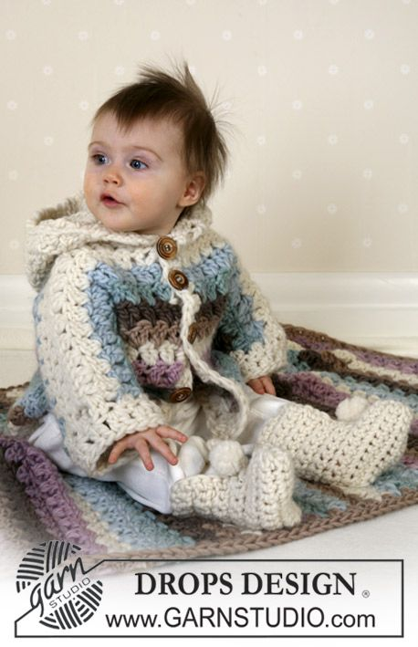 Crochet jacket and booties in Eskimo and knitted blanket - adorable for a girl!