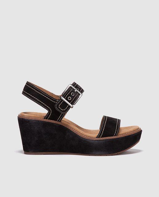 Sandalias de cuña de mujer Clarks  de serraje negro