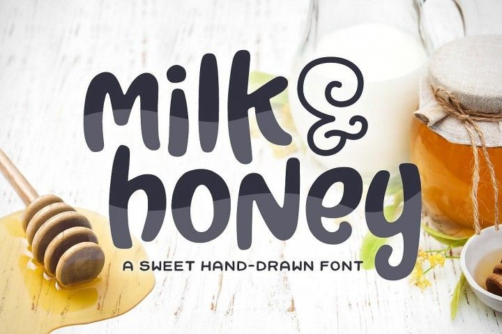 Introducing: Milk & Honey! A sweet and simple hand-drawn font. Its bold and curvy characters can add a bunch of personality to any project. Milk & Honey can be used for personal or commercial projects, in logos, on items for purchase with unlimited sales, and can be turned into a web font (web font files are not included in the download).  Files Included:  Milk & Honey in OTF and TTF format