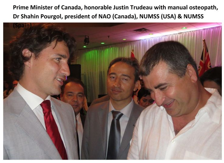 Have a look at this image of prime minister of Canada, honorable Justin Trudeau with manual osteopath, Dr Shahin Pourgol, president of NAO (Canada), NUMSS (USA) and NUMSS. #osteopathy #osteopathicschool #osteopathyschool #nationaluniversityofmedicalsciences #numss