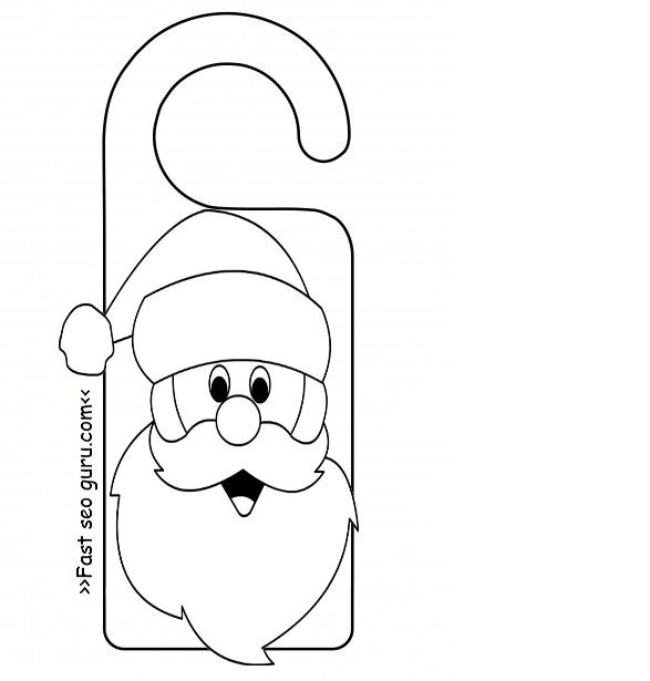 Printable santa claus door knob hanger craft for kids