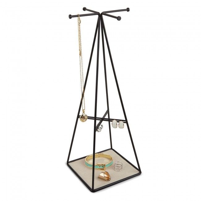 Black powder coated metal wire earring and jewelry stand with linen lined tray. Coordinates with the PRISMA family.